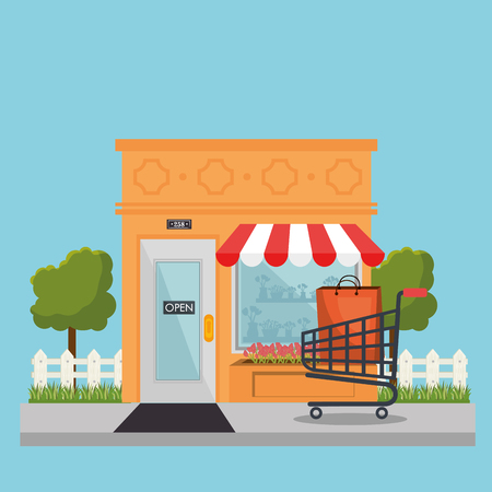 Store building front with shopping cart vector illustration design.