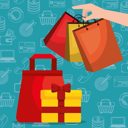 Shopping bag with marketing set icons vector illustration design. Illustration