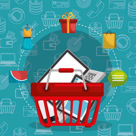 shopping basket with marketing set icons vector illustration design Illustration