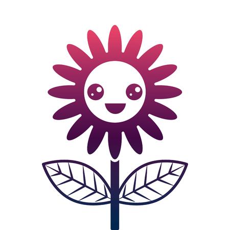 cute happy flower decoration cartoon vector illustration degrade color design Foto de archivo - 96941861