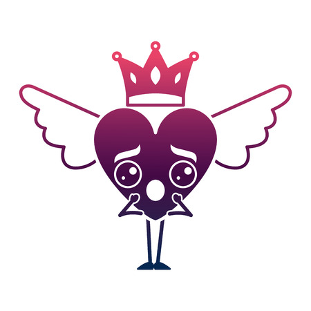 cartoon heart in love surprise wings and crown vector illustration degrade color design Illustration