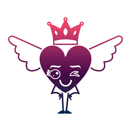 cartoon heart in love wink wings and crown vector illustration degrade color design