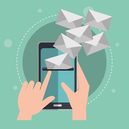 smartphone with emails envelopes vector illustration design Illustration