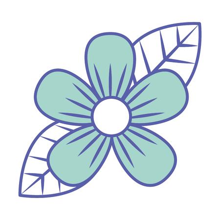 Beautiful one flower on leaves decoration vector illustration green pastel image. Illustration