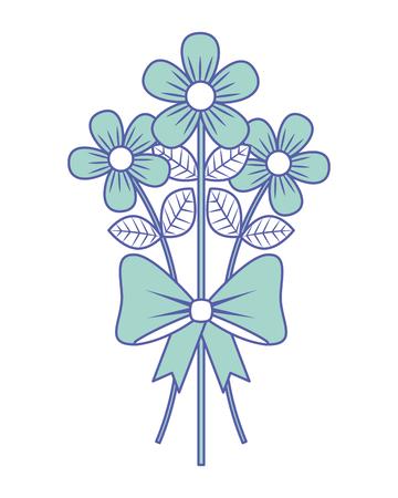 꽃다발 섬세 한 꽃 포장 리본 활 장식 벡터 일러스트 레이 션 녹색 파스텔 이미지. 스톡 콘텐츠 - 96968382