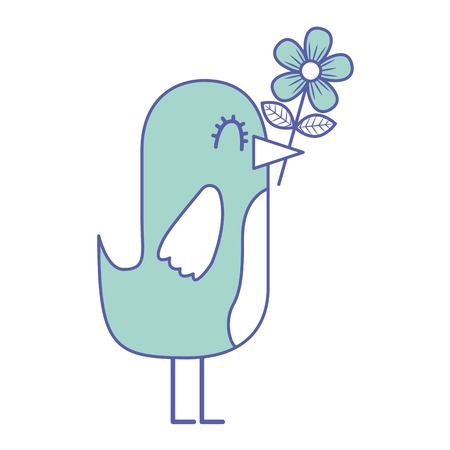 Cartoon cute bird with flower in beak vector illustration green pastel image. Stock Vector - 96968392