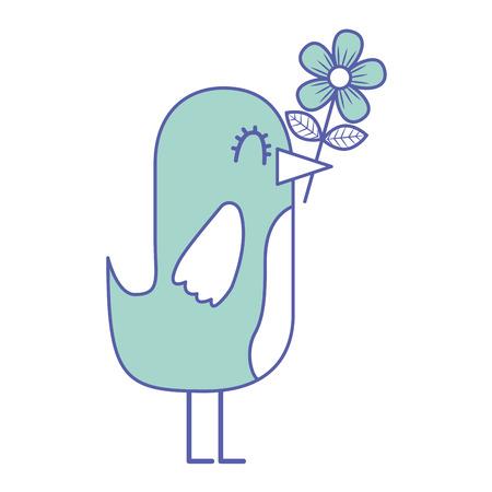 Cartoon cute bird with flower in beak vector illustration green pastel image.