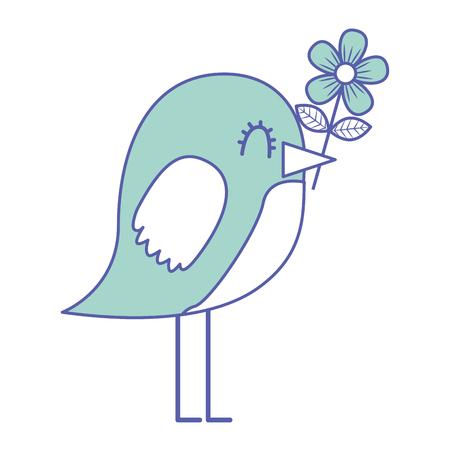 cartoon cute bird with flower in beak vector illustration green pastel image