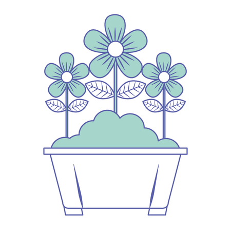 potted flowers natural decoration leaves plant vector illustration green pastel image
