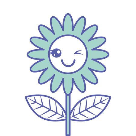 cute wink  flower decoration cartoon vector illustration green design Foto de archivo - 96945360