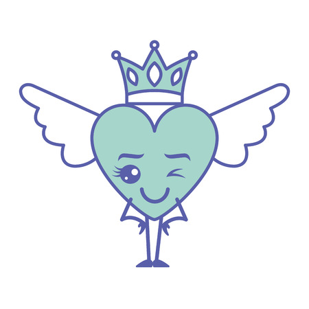 cartoon heart in love wink wings and crown vector illustration green design