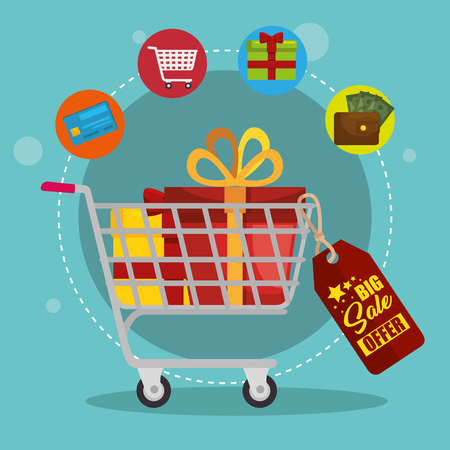 shopping cart with marketing set icons vector illustration design