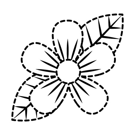 Beautiful one flower on leaves decoration vector illustration dotted line.