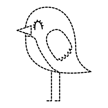 cartoon cute bird adorable animal vector illustration dotted line
