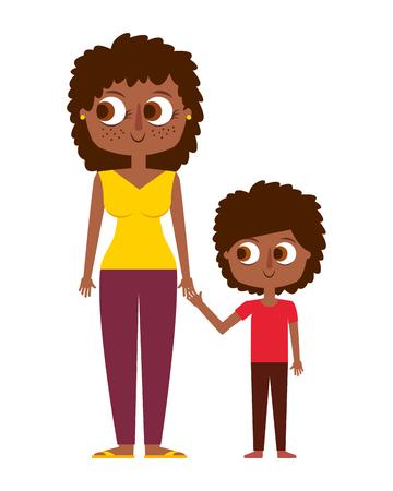 幸せな母と彼女の息子漫画ベクトルイラスト  イラスト・ベクター素材