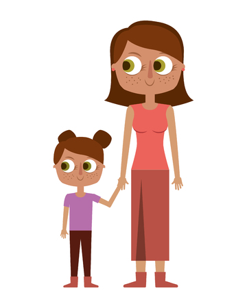 mother holding hand with her daughter vector illustration