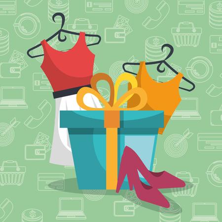 Gift box with marketing set icons vector illustration design. Stock Illustratie