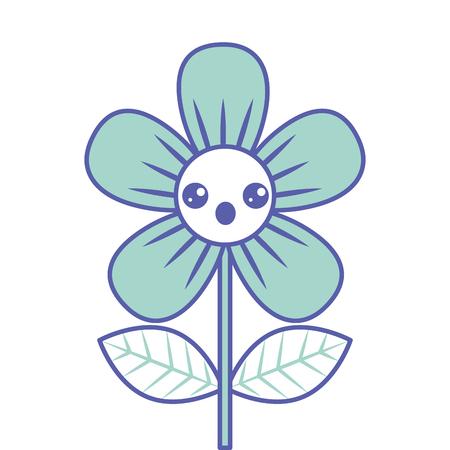 Beautiful flower surprise cartoon vector illustration green design. Illustration