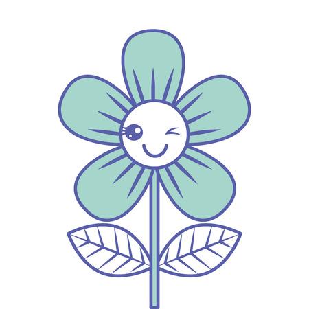 Beautiful flower wink cartoon vector illustration green design. Illustration