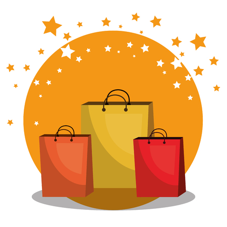 Shopping bags with marketing set icons vector illustration design. Illustration