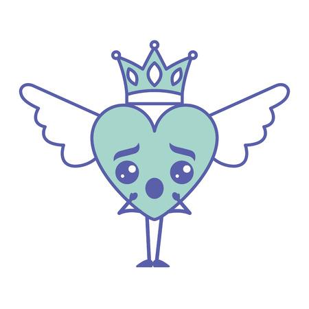 Cartoon heart in love surprise wings and crown vector illustration green design. Archivio Fotografico - 96967984