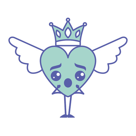 Cartoon heart in love surprise wings and crown vector illustration green design.