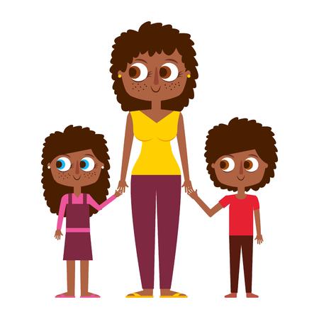 mother and her kids together holding hands vector illustration 向量圖像