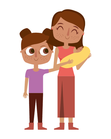 smiling mother is holding her little baby and daughter vector illustration