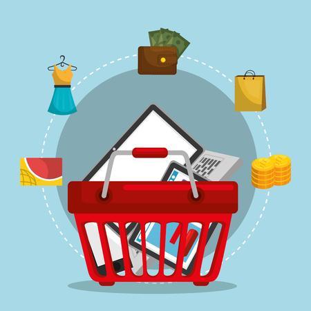 shopping basket with marketing set icons vector illustration design Illustration