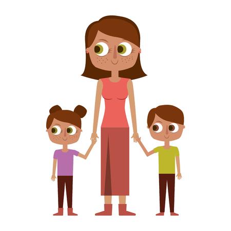 mother and her kids together holding hands vector illustration Illustration