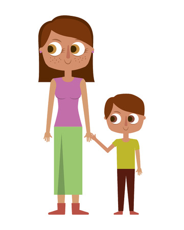 happy mother and her son cartoon vector illustration Banque d'images - 96942149