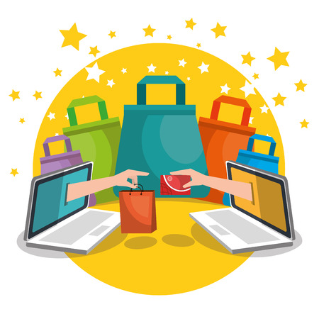 shopping bags with marketing set icons vector illustration design Illustration