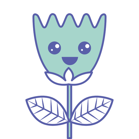 Happy flower tulip leaves cartoon vector illustration green pastel image.