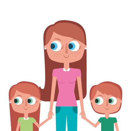 Mother and her kids together holding hands portrait vector illustration. Illusztráció