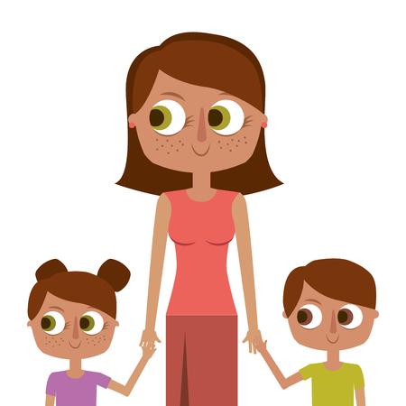 Mother and her kids together holding hands vector illustration.