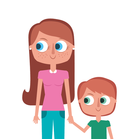 Happy mother and her son cartoon portrait vector illustration. Illustration