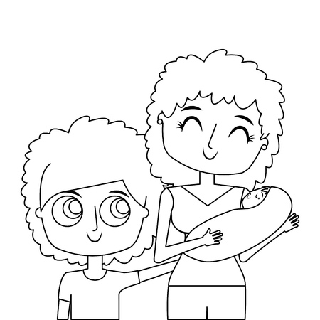 portrait mom carrying her baby and son vector illustration thin line
