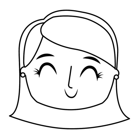 Beautiful young teenager happy face girl smiling vector illustration thin line. Illustration