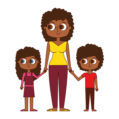 mother and her kids together holding hands vector illustration Illustration