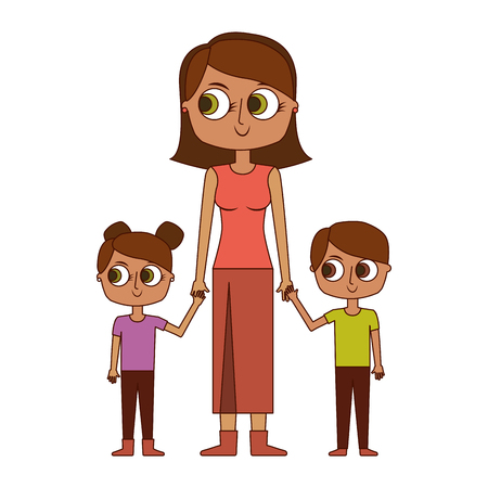 mother and her kids together holding hands vector illustration Illusztráció