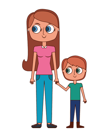 happy mother and her son cartoon vector illustration