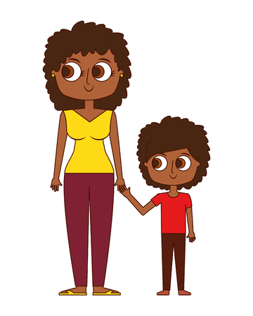 happy mother and her son cartoon vector illustration Banque d'images - 96946878