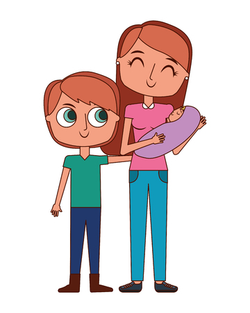 cute mother holding her baby and son child vector illustration Illustration