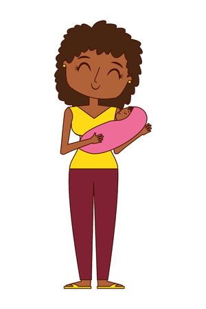 mom holds the baby in her arms vector illustration  イラスト・ベクター素材
