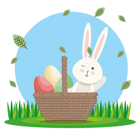 cute rabbit happy easter card vector illustration design Stock Vector - 96968971