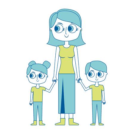 mother and her kids together holding hands vector illustration green image Illustration