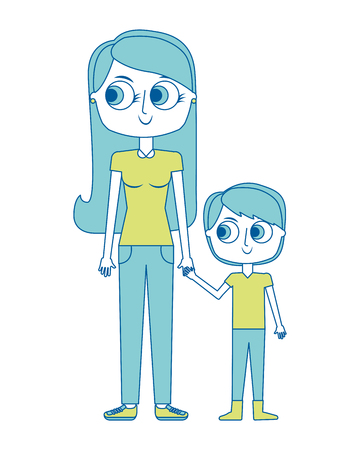 happy mother and her son cartoon vector illustration green image  イラスト・ベクター素材