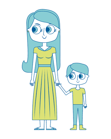 happy mother and her son cartoon vector illustration green image Ilustração