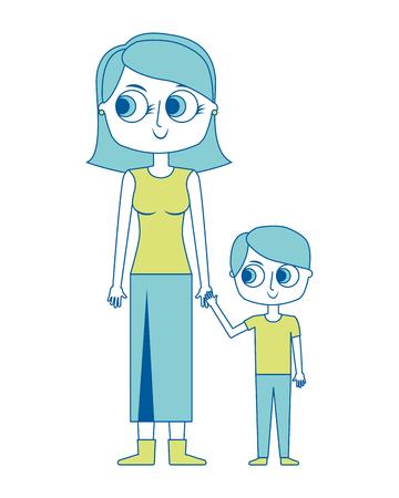 幸せな母と彼女の息子漫画ベクトルイラスト緑の画像  イラスト・ベクター素材