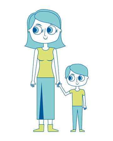 happy mother and her son cartoon vector illustration green image Illusztráció